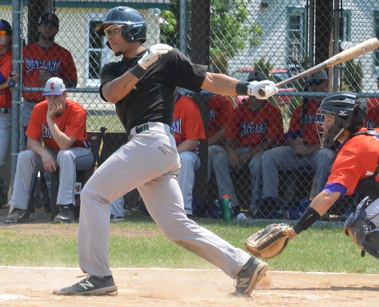 KYLE MENNIG - ONEIDA DAILY DISPATCH Sherrill Silversmith Skylar Mercado follows through on a swing against the Cortland Crush during their game in Sherrill on Wednesday, July 20, 2016.