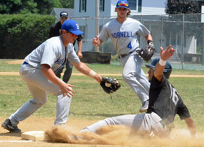 KYLE MENNIG - ONEIDA DAILY DISPATCH Sherrill Silversmith Skylar Mercado (16) slides safely back into third under the tag of Hornell Dodger Ty Reginelli (3) during their NYCBL game in Sherrill on Wednesday, July 13, 2016.