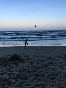 Boys, ball, beach....