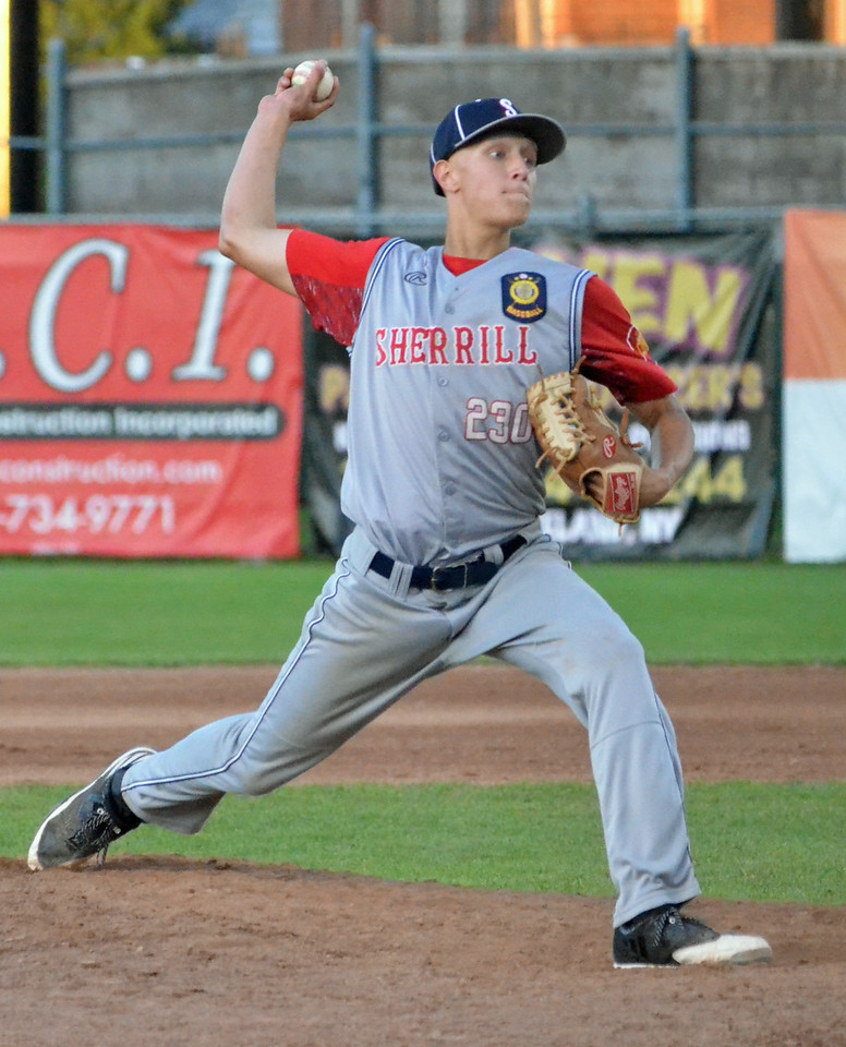 KYLE MENNIG – ONEIDA DAILY DISPATCH Sherrill Post's TJ Horodnick delivers a pitch to a Rockland County batter during their American Legion Baseball State Championship tournament game in Utica on Friday, July 28, 2017.