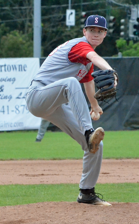 . KYLE MENNIG � ONEIDA DAILY DISPATCH Sherrill Post\'s Connor VanDreason winds up to throw a pitch to a Binghamton Post batter during their American Legion Baseball State Championship tournament game in Utica on Tuesday, July 25, 2017.