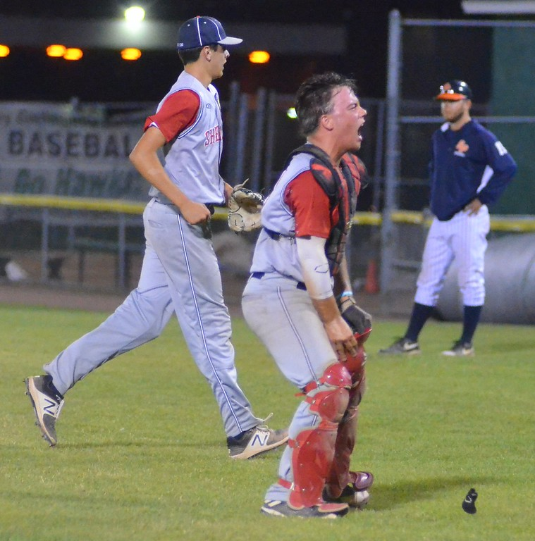 . KYLE MENNIG � ONEIDA DAILY DISPATCH Sherrill Post\'s Tyler Rotach celebrates after winning the American Legion Baseball District 5 championship in Utica on Friday, July 21, 2017.
