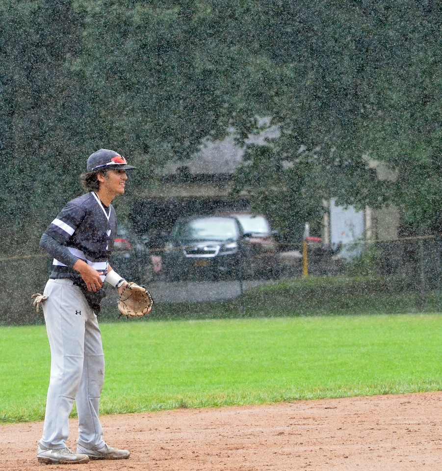 KYLE MENNIG – ONEIDA DAILY DISPATCH Sherrill Silversmiths Steven Valentine awaits the pitch to a Cortland Crush batter in the rain during their game in Sherrill on Saturday, July 15, 2017.