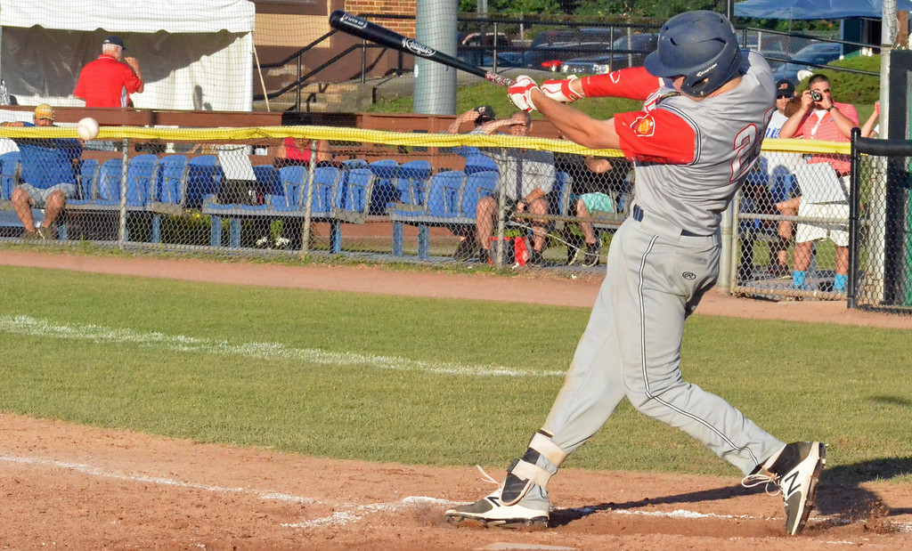 . KYLE MENNIG � ONEIDA DAILY DISPATCH Sherrill Post\'s Andrew Roden connects for a third-inning single against Rockland County during their American Legion Baseball State Championship tournament game in Utica on Friday, July 28, 2017.