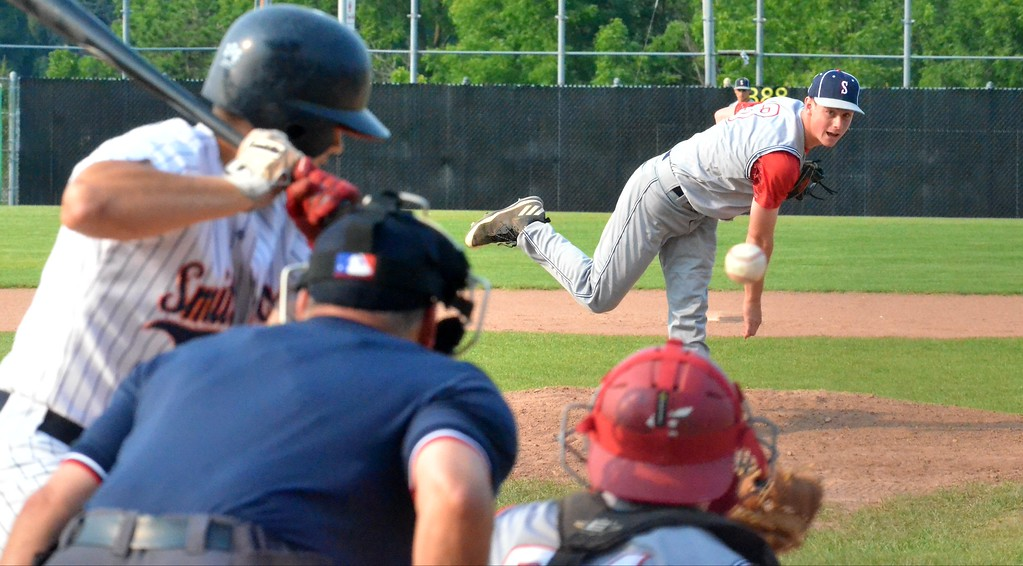 . KYLE MENNIG � ONEIDA DAILY DISPATCH Sherrill Post�s Blake VanDreason delivers a pitch to a Smith Post batter during their American Legion Baseball District 5 playoff game in Utica on Friday.