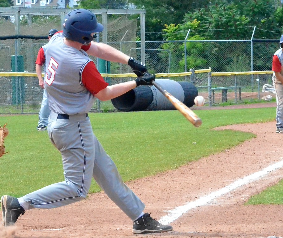 . KYLE MENNIG - ONEIDA DAILY DISPATCH Sherrill Post\'s Davey Moffett connects for a first-inning RBI single against Utica Post during their American Legion Baseball District 5 playoff elimination game in Utica on Wednesday, July 19, 2017.