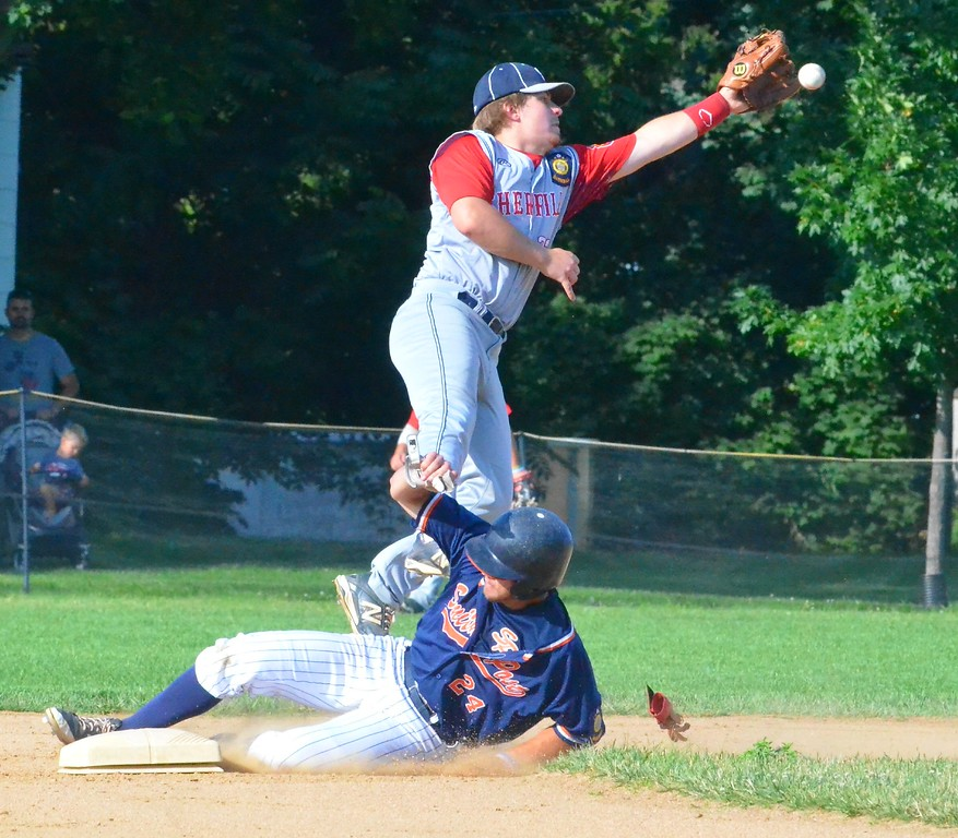 . KYLE MENNIG � ONEIDA DAILY DISPATCH Sherrill Post�s Dylan Shlotzhauer (1) jumps to catch a throw as Smith Post�s Derrick Miller (8) slides safely into second for a stolen base during their American Legion Baseball District 5 playoff game in Sherrill on Tuesday, July 18, 2017.