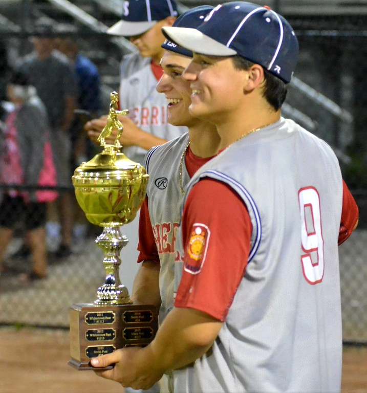 . KYLE MENNIG � ONEIDA DAILY DISPATCH Sherrill Post\'s Nate, left, and Ryan Palmer pose for a picture after winning the American Legion Baseball District 5 championship in Utica on Friday, July 21, 2017.