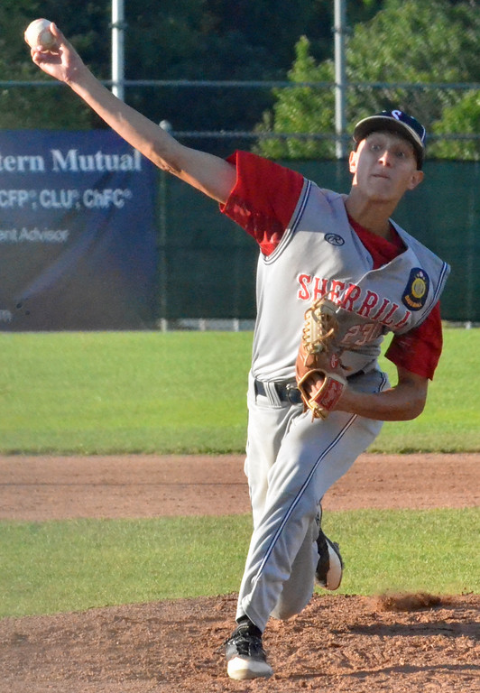 . KYLE MENNIG � ONEIDA DAILY DISPATCH Sherrill Post\'s TJ Horodnick delivers a pitch to a Rockland County batter during their American Legion Baseball State Championship tournament game in Utica on Friday, July 28, 2017.