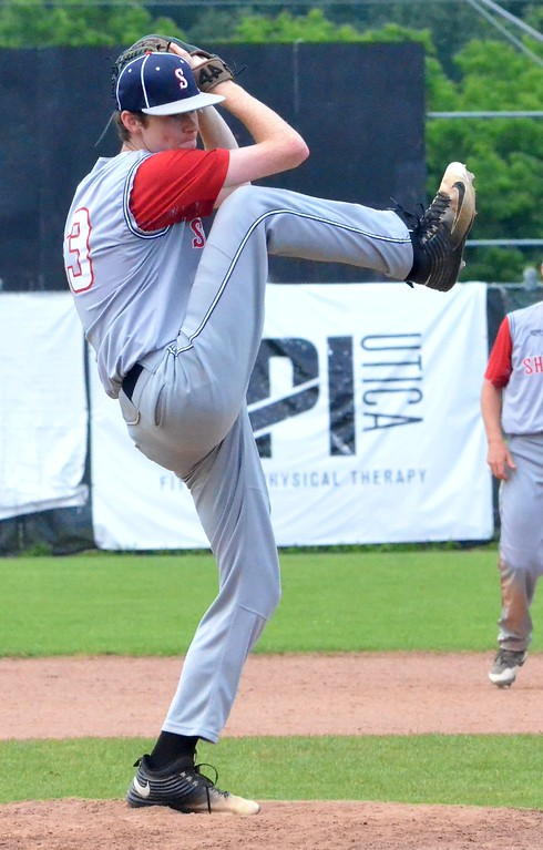 . KYLE MENNIG - ONEIDA DAILY DISPATCH Sherrill Post\'s Connor VanDreason winds up to deliver a pitch to a Utica Post batter during their American Legion Baseball District 5 playoff elimination game in Utica on Wednesday, July 19, 2017.