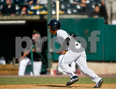 070417  Wesley Bunnell | Staff  The New Britain Bees were defeated by the Somerset Patriots on Tuesday afternoon. Tsuyoshi Fujiwara (9) collects his first professional hit with a two run double.
