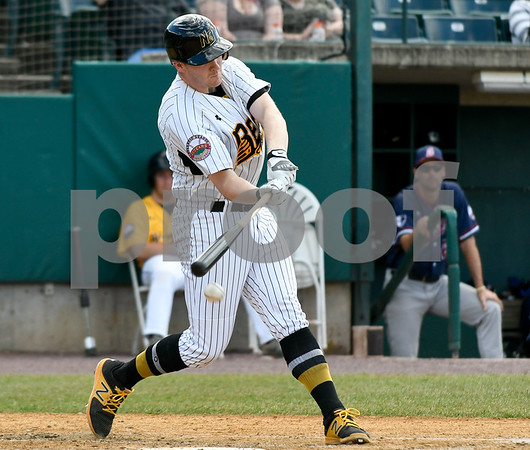 070417 Wesley Bunnell | Staff The New Britain Bees were defeated by the Somerset Patriots on Tuesday afternoon. Jake McGuiggan (2) with an infield hit.