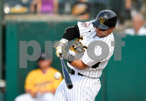 070417 Wesley Bunnell | Staff The New Britain Bees were defeated by the Somerset Patriots on Tuesday afternoon. Craig Maddox (24) collects a hit.