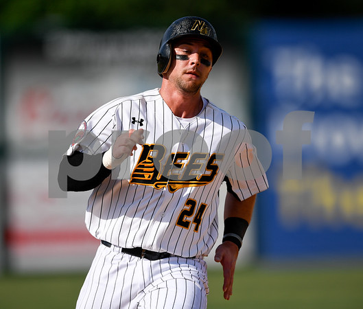 070417 Wesley Bunnell | Staff The New Britain Bees were defeated by the Somerset Patriots on Tuesday afternoon. Craig Maddox (24) on his way towards third base.