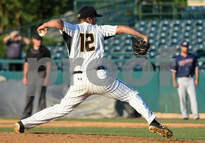 070517  Wesley Bunnell   Staff  New Britain Bees vs Somerset Patriots on Wednesday evening. Greg Nappo (12).