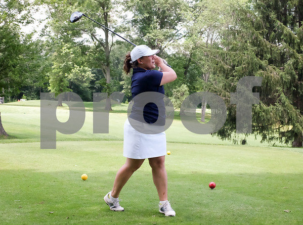 071017 Wesley Bunnell | Staff The 18th Annual Greater New Britain Chamber of Commerce Golf Tournament took place on Monday at Stanley Golf Course. Mayor Erin Stewart tees off on the 10th hole.