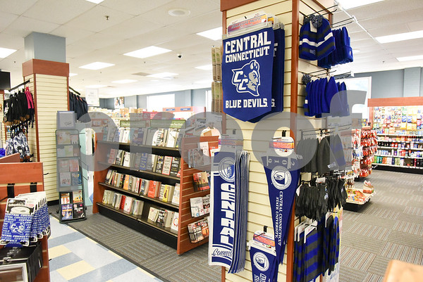 071317 Wesley Bunnell   Staff Books and merchandise for sale at the CCSU bookstore.