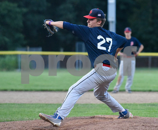 071717 Wesley Bunnell | Staff The Bristol Greeners at the Southington 66ers in a Tri-State Baseball League contest played on Monday evening. Southington pitcher Connor Crean (27).