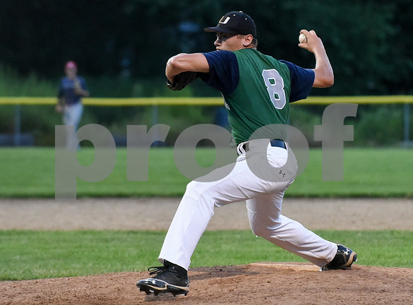 071717 Wesley Bunnell | Staff The Bristol Greeners at the Southington 66ers in a Tri-State Baseball League contest played on Monday evening. Bristol pitcher Finn (8).