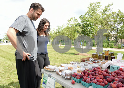 071717  Wesley Bunnell   Staff  Monday afternoon marked the first farmers' market of the year at the New Britain Fastrak location with a stand from Dondero Orchards. Michael and Amanda Palmisano looks over the selection.