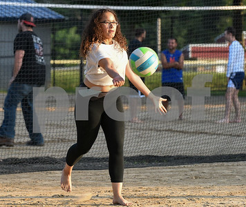 071717  Wesley Bunnell   Staff  Enjoying a game of sand volleyball at Casey Field in Bristol on Monday evening is Alexandra Rodriguez.