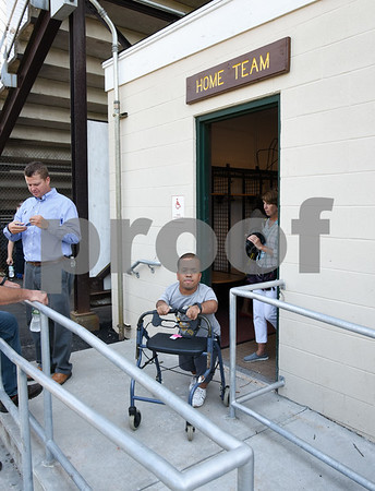 071817 Wesley Bunnell   Staff City officials gave a tour of Veterans' Stadium in New Britain which recently underwent renovations per ADA guidelines. Antonio Orriola exits the home team locker room.