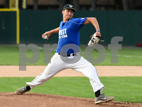 071817 Wesley Bunnell   Staff The FCBL held their All Star Game on Tuesday evening at Muzzy Field which was preceded by a fan fest and workout by players for area scouts. West starting pitcher Billy Devito.
