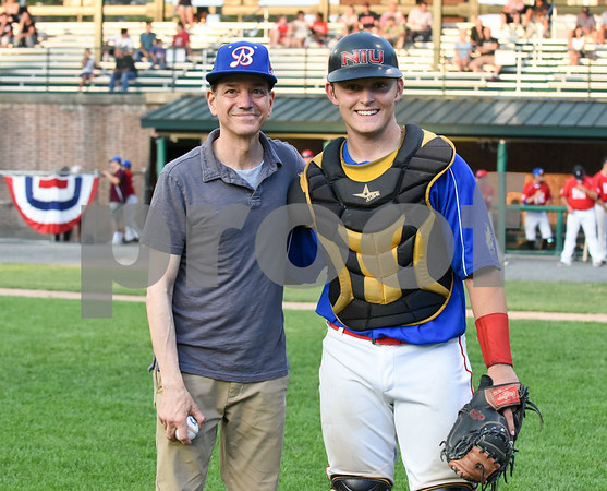 071817 Wesley Bunnell   Staff The FCBL held their All Star Game on Tuesday evening at Muzzy Field which was preceded by a fan fest and workout by players for area scouts. Actor Frank Whaley who played a young Moonlight Graham in the movie Field of Dreams poses for a photo with catcher Andrew Bene after throwing out the first pitch.
