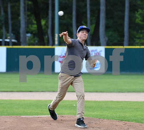 071817 Wesley Bunnell   Staff The FCBL held their All Star Game on Tuesday evening at Muzzy Field which was preceded by a fan fest and workout by players for area scouts. Actor Frank Whaley who played a young Moonlight Graham in the movie Field of Dreams tosses the first pitch.