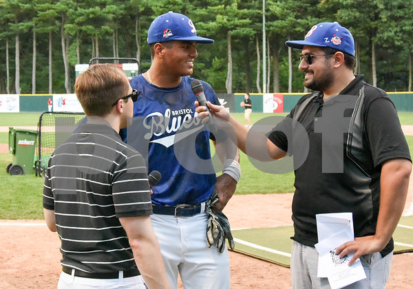 071817 Wesley Bunnell   Staff Jayson Gonzalez (40), of the Bristol Blues is interviewed after winning the home run derby at the FCBL All Star Game at Muzzy Field on Tuesday night.