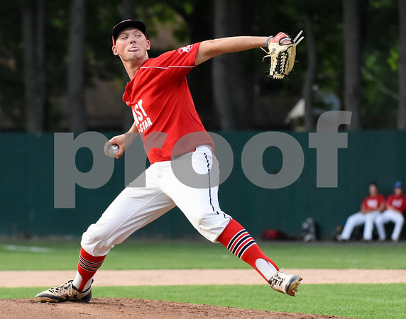 071817 Wesley Bunnell   Staff The FCBL held their All Star Game on Tuesday evening at Muzzy Field which was preceded by a fan fest and workout by players for area scouts. East starting pitcher Zack Martin.