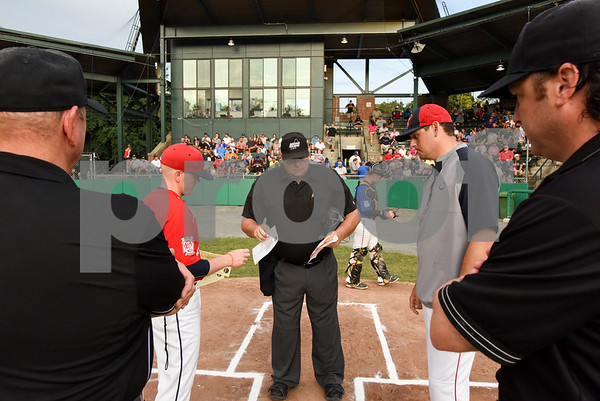071817 Wesley Bunnell   Staff The FCBL held their All Star Game on Tuesday evening at Muzzy Field which was preceded by a fan fest and workout by players for area scouts. Coaches exchange line up cards prior to the start of the game.