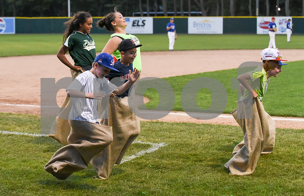071817 Wesley Bunnell   Staff The FCBL held their All Star Game on Tuesday evening at Muzzy Field which was preceded by a fan fest and workout by players for area scouts. Fans participate in the potato sack race.