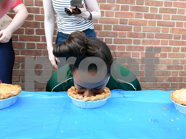 071817 Wesley Bunnell   Staff Jasmine Perez of the Bristol All Stars wins her pie eating competition during the FCBL all star fan fest. The fan fest was held prior to the all star game played at Muzzy Field on Tuesday evening.
