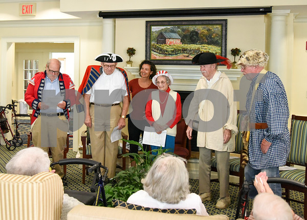 070517 Wesley Bunnell   Staff Residents of Middlewoods of Farmington put on a revolutionary war themed play on July 5th. David Kruh, L, and Cal Kaiser as red coats with Lee Pappas proviiding narration and Bill Raymond and George Byrne as colonists.