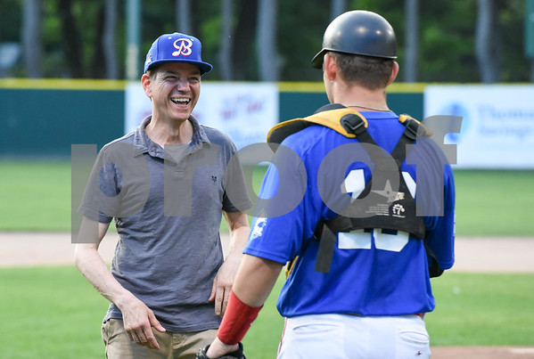 071817 Wesley Bunnell   Staff The FCBL held their All Star Game on Tuesday evening at Muzzy Field which was preceded by a fan fest and workout by players for area scouts. Actor Frank Whaley who played a young Moonlight Graham in the movie Field of Dreams laughs as he receives the ball back after throwing out the first pitch.