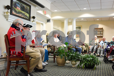 070517  Wesley Bunnell | Staff  Residents of Middlewoods of Farmington put on a revolutionary war themed play on July 5th. David Kruh, L, and Cal Kaiser as red coats with Lee Pappas providing narration and Bill Raymond and George Byrne as colonists.