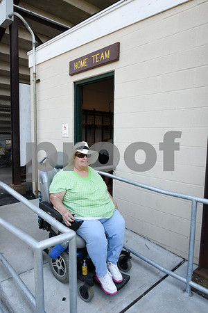 071817 Wesley Bunnell   Staff City officials gave a tour of Veterans' Stadium in New Britain which recently underwent renovations per ADA guidelines. Brenda Socha exits the renovated home team locker room.