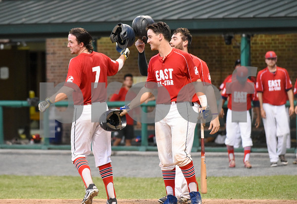 071817 Wesley Bunnell   Staff The FCBL held their All Star Game on Tuesday evening at Muzzy Field which was preceded by a fan fest and workout by players for area scouts. Joe Silva is congratulated by teammates after hitting a two run home run to give the east a 2-0 lead.