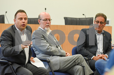 071917  Wesley Bunnell | Staff  Representative Rob Sampson, L,  State Senator Joe Markley and Representative John Fusco spoke with the public at their post session town hall meeting on Wednesday, July 19 at the Southington Municipal Center.
