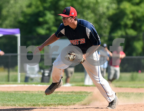 071917 Wesley Bunnell | Staff Southington American Legion Post 72 vs Avon Post 201 on Wednesday afternoon in Avon. The first game was forfeited by Avon after it was ruled they used an ineligible player forcing a second final deciding game. Pitcher Connor McDonough (18) in his follow through.