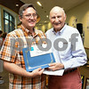 072017  Wesley Bunnell | Staff<br /> <br /> The Hospital for Special Care held their 14th Annual Juried Art Show on Thursday evening with an exhibition running until September 28th. Andrzej Grzybowski receives his Chairmans Award from the Chairman Sam Paul.