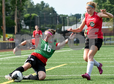 072017  Wesley Bunnell | Staff  The Bristol Warriors defeated Stratford in an U18 girls soccer Nutmeg Games match on Thursday afternoon at Chesley Park. Myah Croze (16).