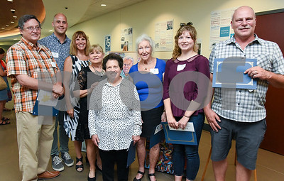 072017  Wesley Bunnell | Staff  The Hospital for Special Care held their 14th Annual Juried Art Show on Thursday evening with an exhibition running until September 28th. Award Winners Andrzej Grzybowski, L, Nick Pisani, Juror and Presenter Melanie Carr, Linda DeLuca, Anne Arnstein,  Sara Brown, Greta Nystrom and Sean Dudley.