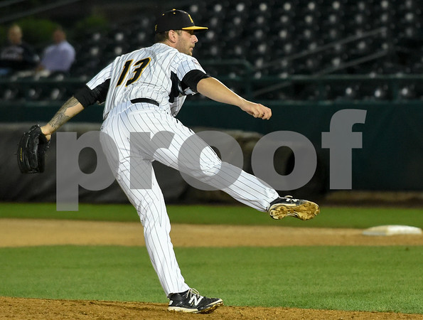 072417 Wesley Bunnell   Staff The New Britain Bees lost 2-1 to the Lancaster Barnstormers on Monday evening. Nate Roe (13).