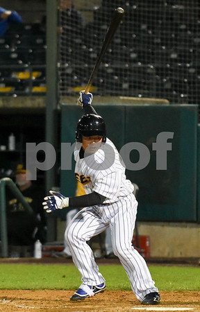 072417 Wesley Bunnell   Staff The New Britain Bees lost 2-1 to the Lancaster Barnstormers on Monday evening. Tsuyoshi Fujiwara (9) looks back to see if the catcher caught the ball after striking out.