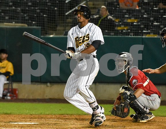 072417 Wesley Bunnell   Staff The New Britain Bees lost 2-1 to the Lancaster Barnstormers on Monday evening. Jordan Hinshaw (19) would reach base on an error.