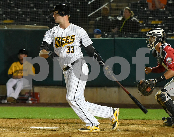 072417 Wesley Bunnell   Staff The New Britain Bees lost 2-1 to the Lancaster Barnstormers on Monday evening. Jon Griffin (33).