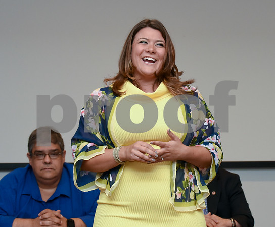 072417 Wesley Bunnell   Staff The Republican Town Committee endorsed its slate of candidates for Novembers municipal elections on Monday night. Mayor Erin Stewart speaks just after being officially endorsed.