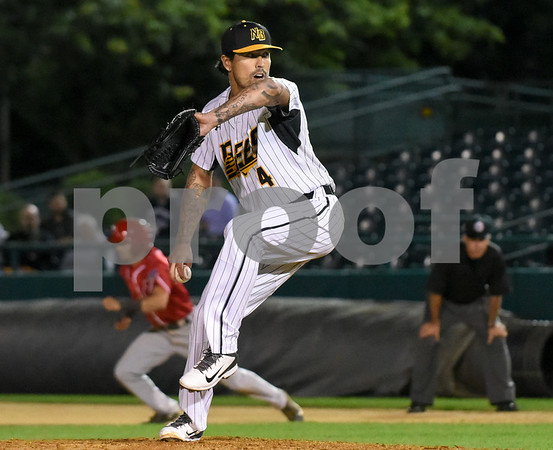 072417 Wesley Bunnell   Staff The New Britain Bees lost 2-1 to the Lancaster Barnstormers on Monday evening. Losing pitcher Brandon League (4).